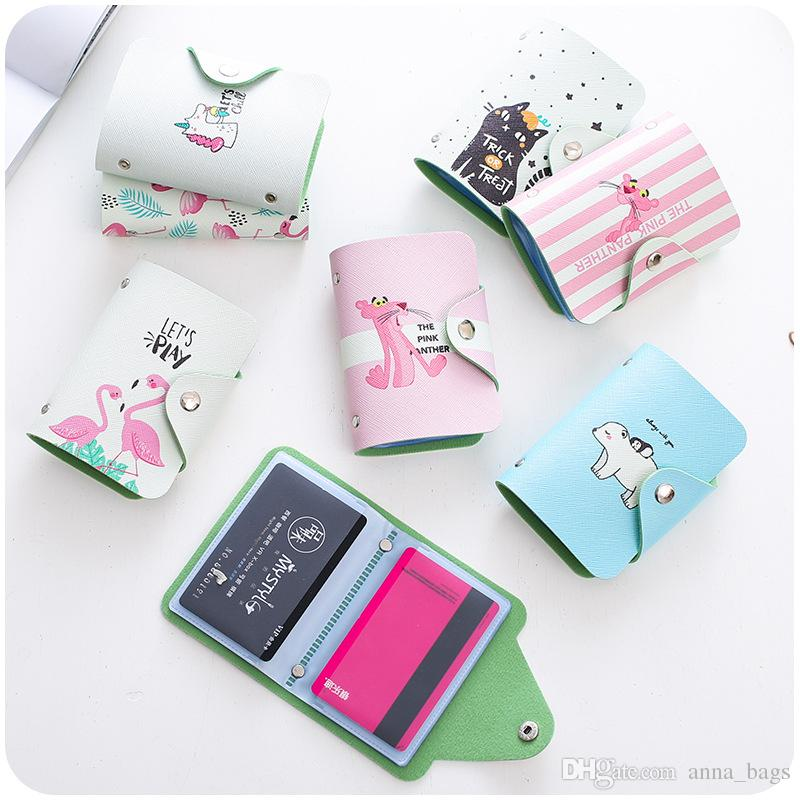 20 slots fashion new id bank card case cute cartoon printing leather