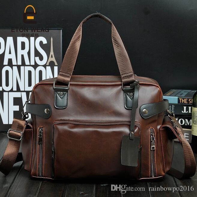 8751183b6a Factory Sales Brand New Bag Retro Trend Men Crazy Horse Leather Handbag And  Computer Files Into Single Color Leisure Shoulder Bag Reusable Grocery Bags  ...