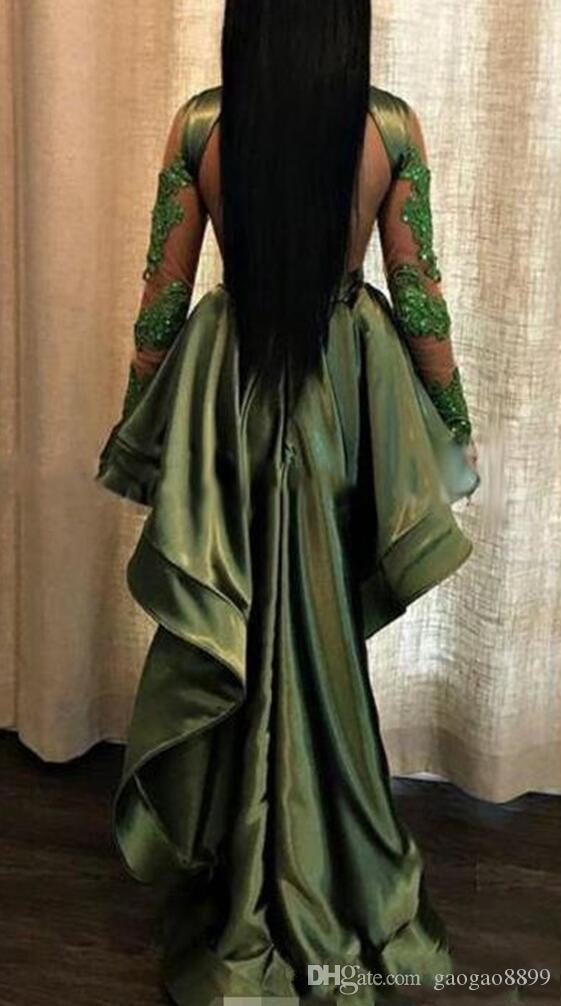 Black Girls Pageant High Low Long Prom Dresses 2019 Sexy See Through Appliques Sequins Sheer Long Sleeves Evening Gowns Cocktail Party Dress