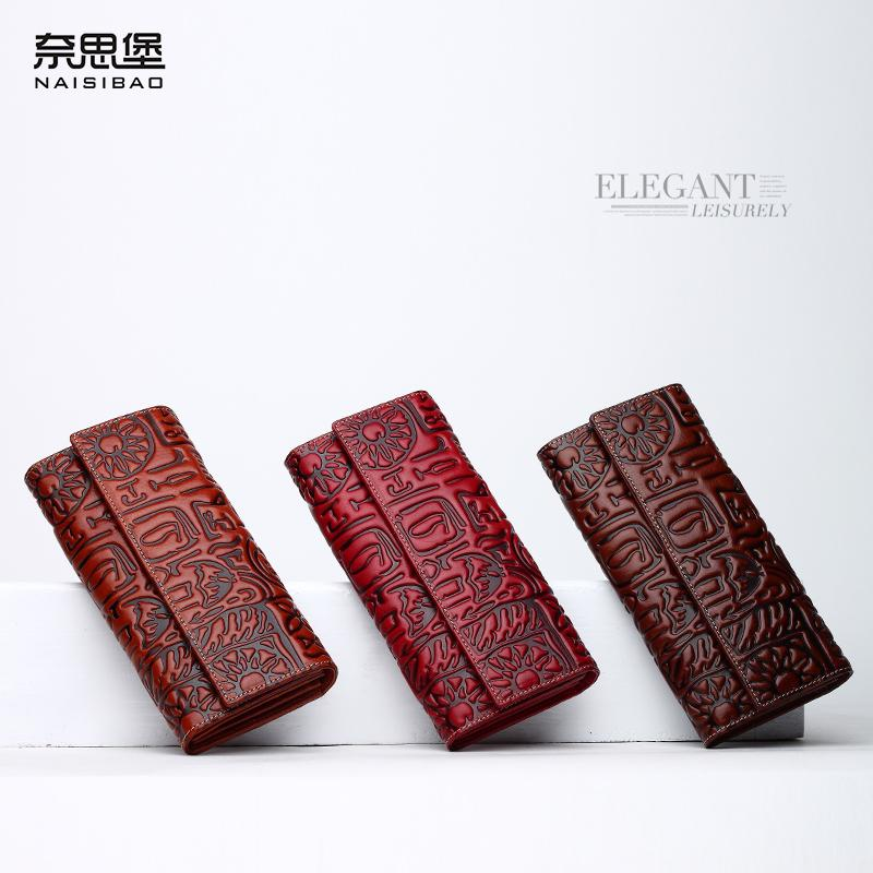 جودة عالية النمط الصيني جلد طبيعي خمر الإناث محفظة اسم العلامة التجارية أزياء نمط الفاصل المحفظة المرأة