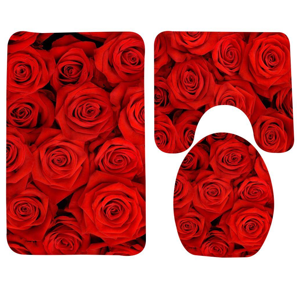 2019 Bath Mat Set Red Rose Flowers Bathroom Rug Bathroom Anti Slip
