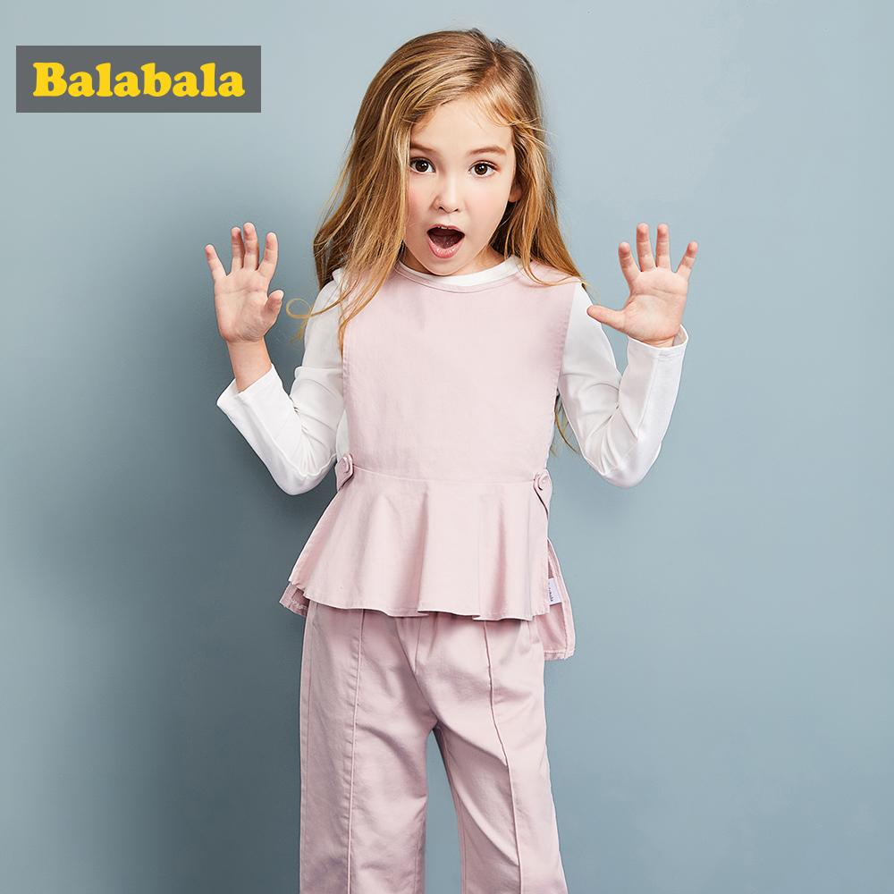 722768ac3ee80 Balabala 3pcs/set girls clothing set cotton toddler girl clothes suit  costume Solid preppy style tshirt + leggings + vest sets Y1892807