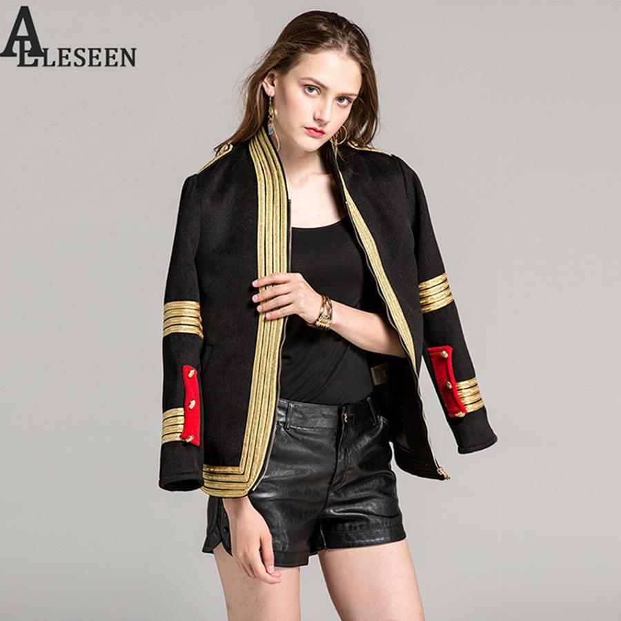 09fcd472f582 Großhandel Luxus Schwarzen Mantel Neue Mode Frauen Soldat Stil Langarm Band  Stickerei Gestreiften Vintage Hochwertige Designer Mantel Von Vikey18, ...