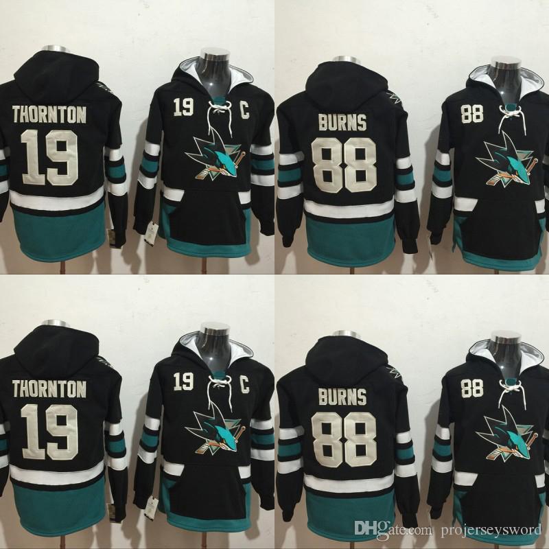 separation shoes c8033 dc7d7 2019 San Jose Sharks Hockey Hoodie 19 Joe Thornton 88 Brent Burns Jerseys  100% Stitched Embroidery Logos Hockey Sweatshirt From Projerseysword, ...