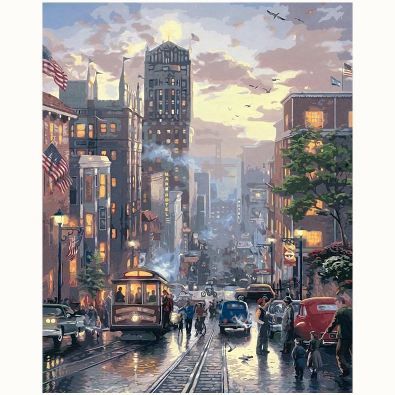 New York Street Zeichnung Landschaft Usa Malen Nach Zahlen Malen Auf Leinwand Acrylfarben Nach Zahlen Für Home Wand Dekoration