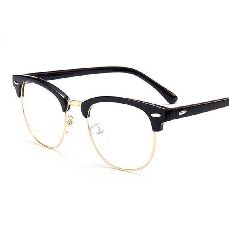 Compre 2018 Clássico Rebite Meia Molduras Óculos Retro Vintage Óptica  Quadro Óculos De Olho Das Mulheres Dos Homens De Armação De Óculos Claro  Oculos De ... 87988f8453