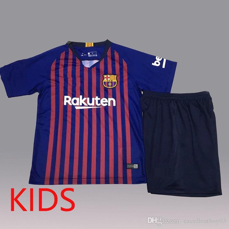 a034d741c ... australia 2018 18 19 barcelona kids kit soccer jersey messi 10 football  uniform home away boys