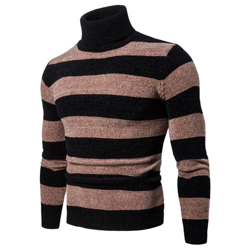 903933db5a10 Hombre de manga larga de cuello alto suéter a rayas jersey de punto otoño  invierno nuevo hombre 2018 ropa Pull Homme hiver Homber