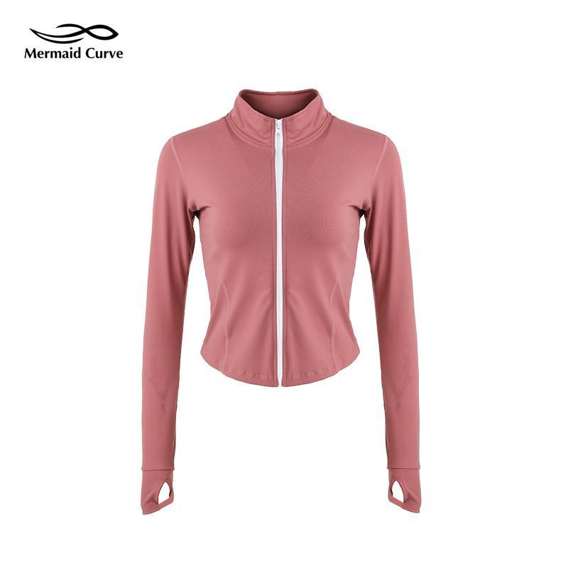 cec95df6e Mermaid Curve 2018 Autumn Winter Women Sport Jackets Zipper Outerwear  Workout Running Jacket Women Long Sleeve Fitness Crop Top
