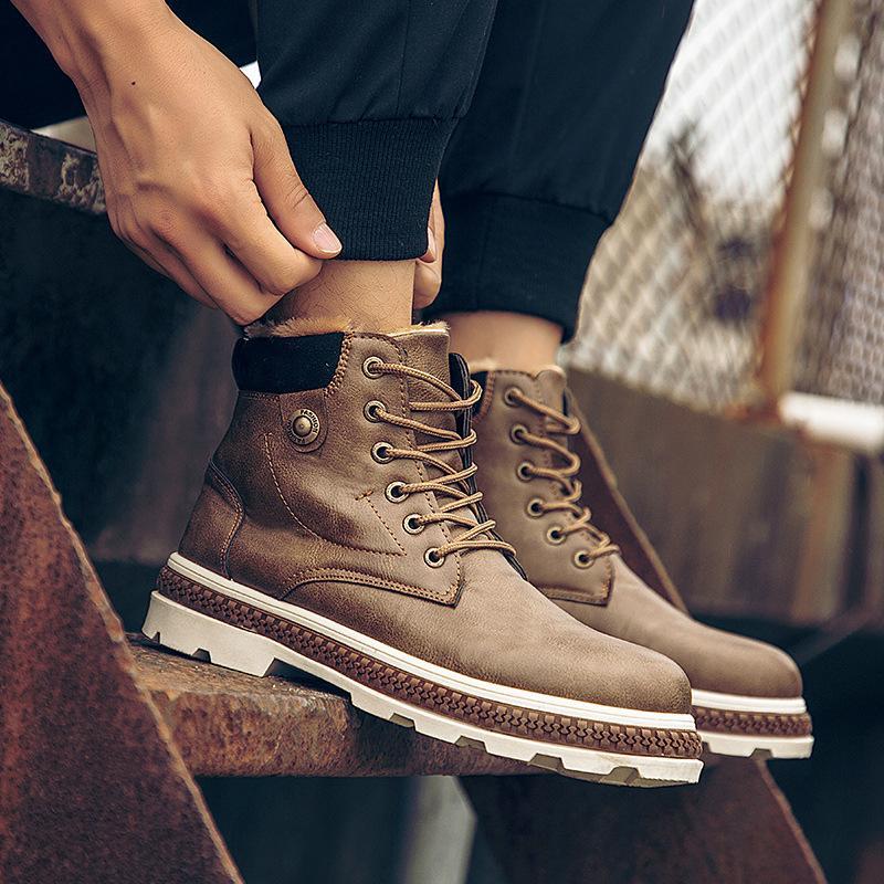 e0a67836b45 Acheter 2019 Bottes Pour Hommes En Cuir Imitation Daim Printemps Automne Et  Hiver Chaussures Homme Bottines De Travail Pour Hommes Bottes Martin De   49.47 ...