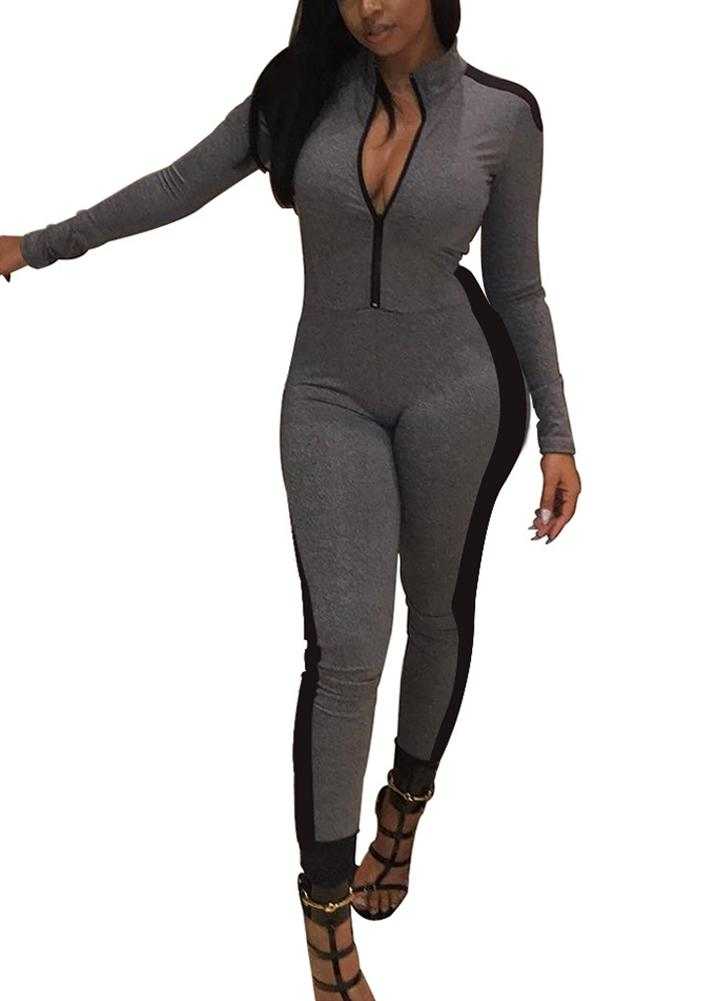 f2fd37b8f1a5 2019 2018 Fashion Tracksuit For Women Long Sleeve Jumpsuit Stand Collar  Zipper Bodysuit Female Rompers Casual Slim Overalls Playsuit From Harrvey