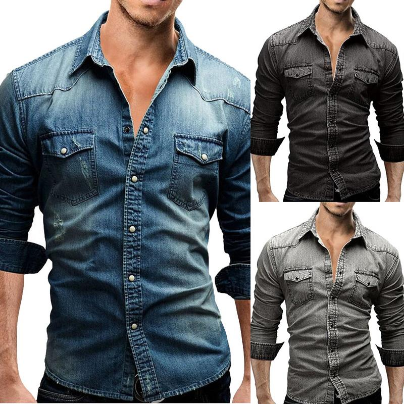 new product 3ed10 b52d6 Camicia Jeans Denim Jeans Uomo Camicia Autunno Maniche Lunghe Casual Slim  Fit Denim Tops Streetwear Alta Qualità