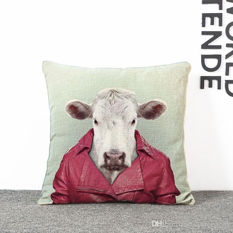 Dessin Animé Mr Animal Impression Taie d'oreiller 7 Styles Chien Chat Etc Animal Voiture Décoratif Throw Taie D'oreiller Coussin Couverture