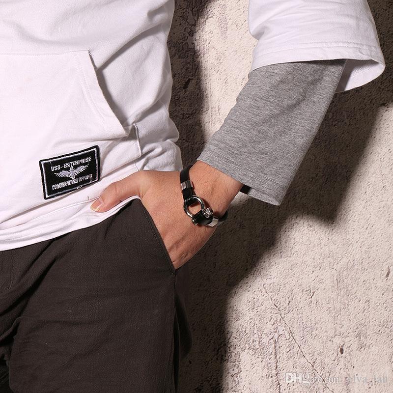 Black Real Leather Bracelet Bangle For Men Stainless Steel Vachette Screw Button Design Unique Jewelry 21cm