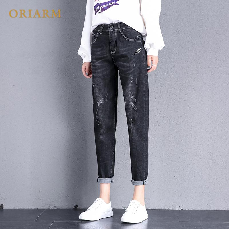 85dc227bbc7 2019 Plus Size Women Casual High Waist Jeans 2018 Autumn Winter Boyfriend  Loose Jeans Femme Streetwear Black Denim Pants From Hermanw