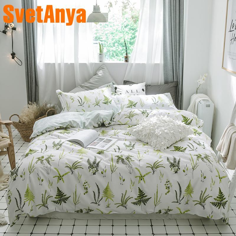 c0424e891a3b Svetanya Green Plants Print Sheet Pillowcase Duvet Cover Set 100% Coon Bedding  Sets Single Queen Full Double Size Bedlinen Satin Bedding Cool Duvet Covers  ...