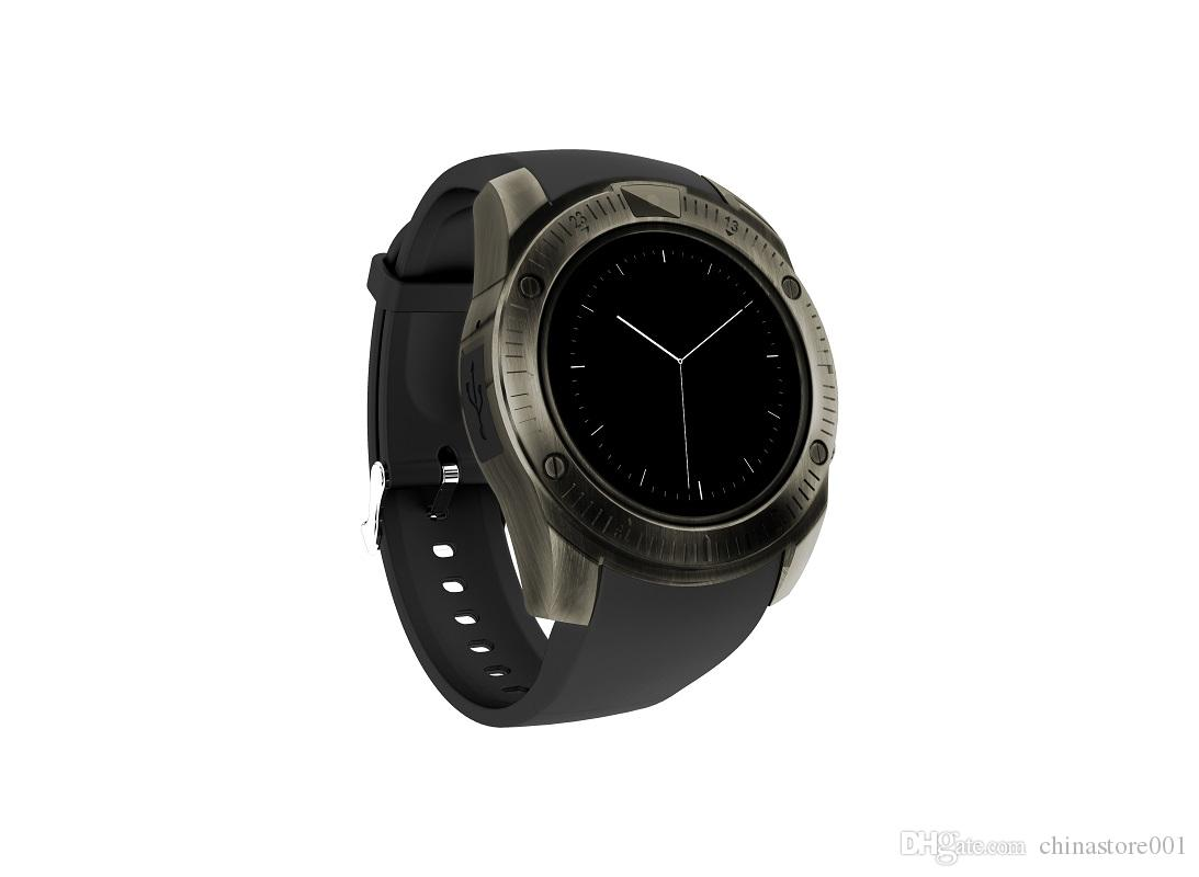 KY003 Smart Watch 2018 Newest Men Gold Bluetooth Smart Watches with Camera SIM Card Slot Cheap Round Face SmartWatch for Android Iphone