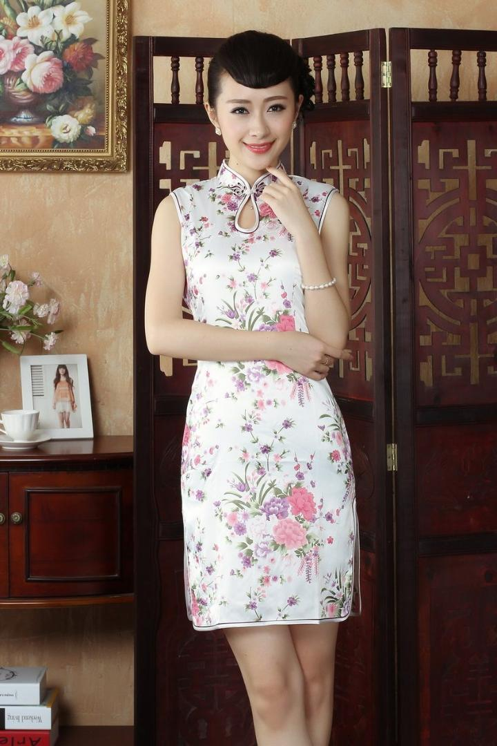 9338669c5 2019 Elegant Printed Flowers Women Silk Rayon Cheongsam Chinese Style Lady Qipao  Sexy Dripping Mini Dress Size S M L XL XXL WC017 From Jiuwocute, ...