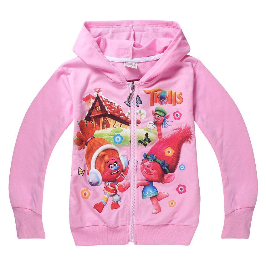 2017 الفتيات ربيع الخريف الاطفال ملابس 4-12 سنوات الكرتون القزم سترة معطف سستة سترة الأطفال هوديس البلوز رقيقة t695