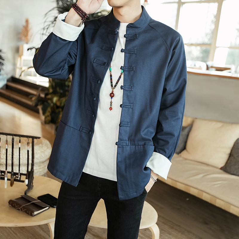 f1f3b964369 Fashion Casual Men S Jacket Spring And Autumn New M 5XL Solid Color Loose  Shirt Jacket Blue Green Personality Youth Popular Coat Clothing Jackets For  Me ...