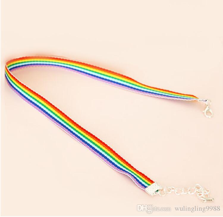 Collana in pizzo da uomo Donna Gay Pride Collana girocollo arcobaleno Gay e Lesbiche Organza Colletto in choker di pizzo con pendente Gioielli 100 pezzi