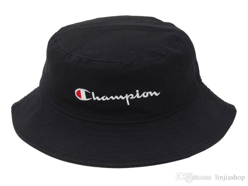 aae8c5cc4ca 2019 2018 Hot Fashion Men Women Hot Champion Bucket Hat Brand Outdoor  Boonie Cap Unisex Summer Beach Hat From Linjiashop