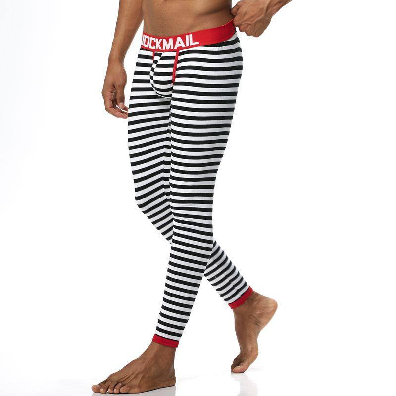 JOCKMAIL Brand New Autunno e inverno Uomo lungo johns biancheria intima termica Leggings Pantaloni Cotone di alta qualità Moda strisce sexy