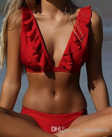 Sexy Bikini Swimwear Women Push Up Polyester Bikinis Set Solid Swimming Bathing Suit Low Waist Beachwear Summer Beach Suit