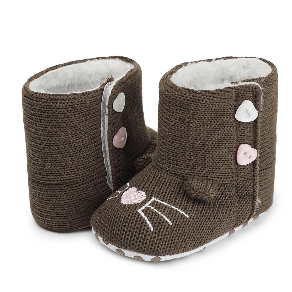 Winter Warm Unisex Crochet Knitted Baby Shoes Soft Sole Kids Footwear Boy Girls Anti-Slip First Walkers Snow Booties