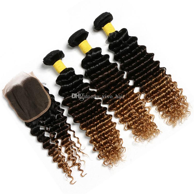 Tissage de cheveux humains bouclés de qualité 8A avec fermeture 1B 4 27 Ensembles de vague profonde ombre blonde fraise avec fermeture de dentelle