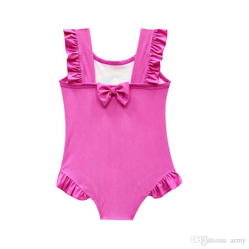 6 design INS Unicorn Swimwear One Piece Bowknot Swimsuit Bikini Big Kids Summer Cartoon Infant Swim Bathing Suits Beachwear
