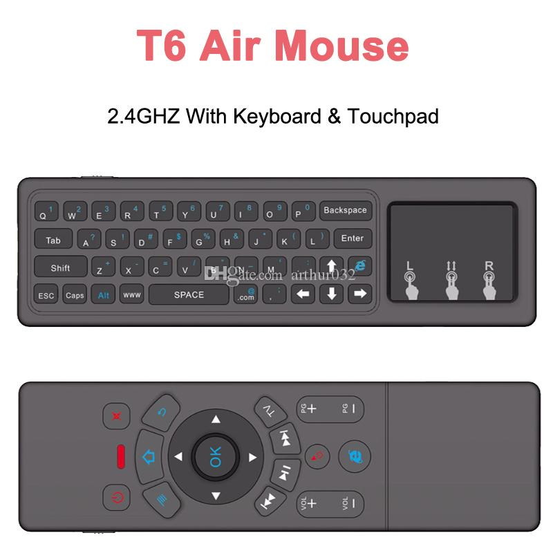 2018 Latest T6 Air Mouse with Wireless Keyboard & Touchpad 6-Axis 2 4GHZ  Remote Control for Android 7 1 TV Box Mini PC HTPC Projector