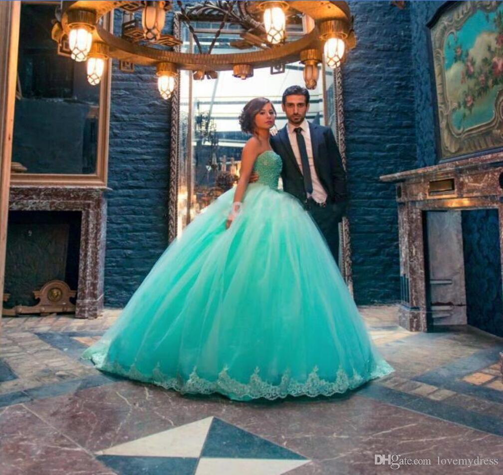 47eaf845b00 Mint Green Lace Ball Gown Cheap Quinceanera Evening Formal Dress Sweetheart  Applique Beaded Sequins Tulle Sweet 16 Prom Party Dress Long Quinceanera  Dresses ...