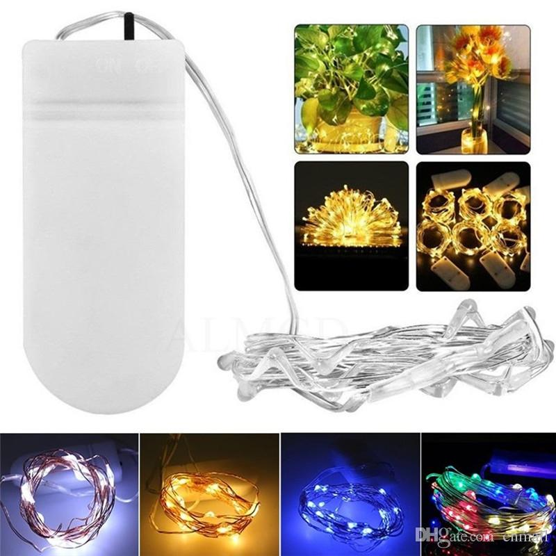 2m 20led fairy lights 20 led micro starry light cr2032 button battery operated silver string for christmas wedding party decorations c9 led christmas light