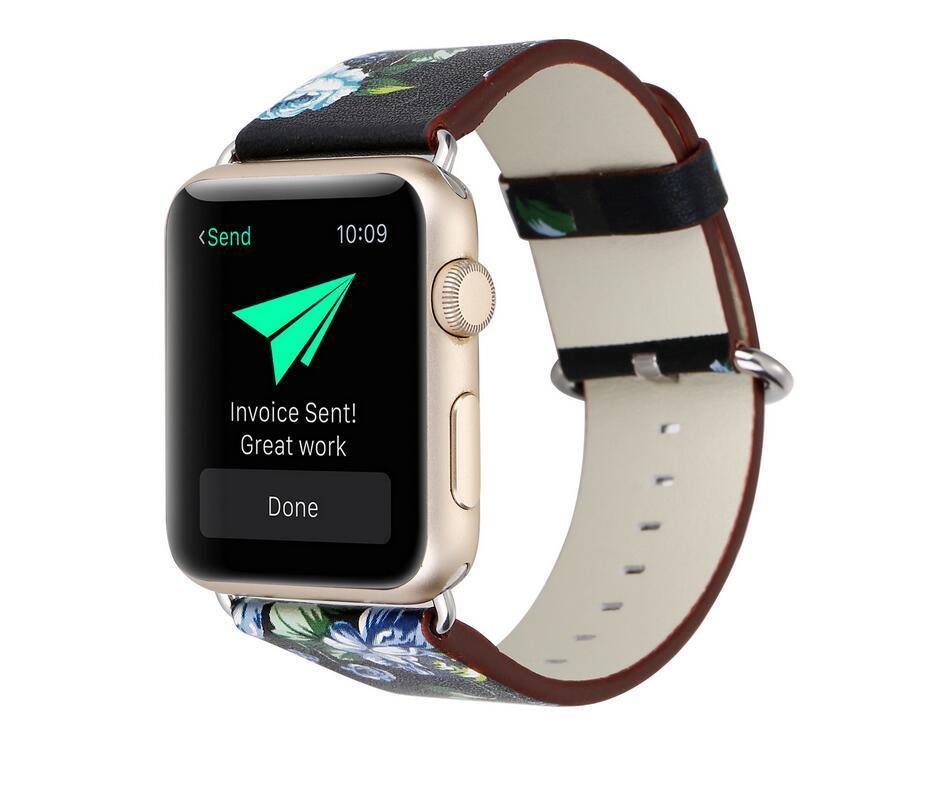 Ulusal stil Çiçek Baskılı Deri Watch Band Kayışı Apple Ürünü için iwatch için Çiçek Tasarım Bilek İzle Bilezik 38mm / 42mm