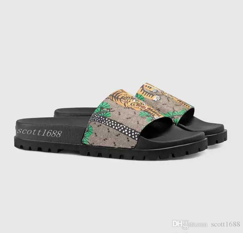 1e0422f94cc2 Mens And Womens Fashion Green Bengal Tiger Print Trek Slide Sandals Flip  Flops With Thick Rubber Sole Slippers Boots Online Cowboy Boots For Women  From ...