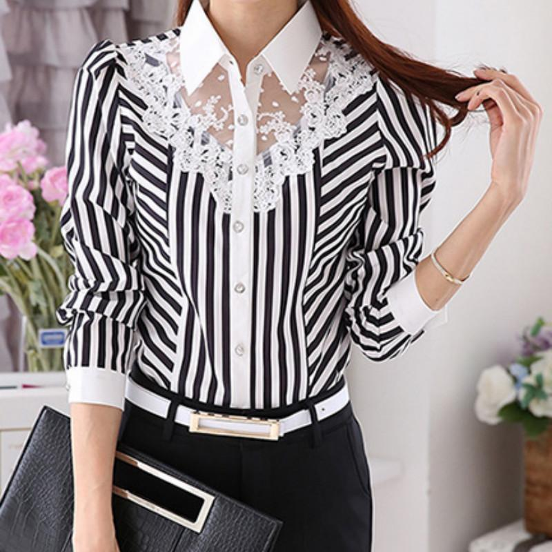 23727af0c 2019 2018 Long Sleeve Lace Tops Striped Women Spring Autumn Turn Down  Collar OL Official Female Blouses From Qinfeng01, $30.7 | DHgate.Com