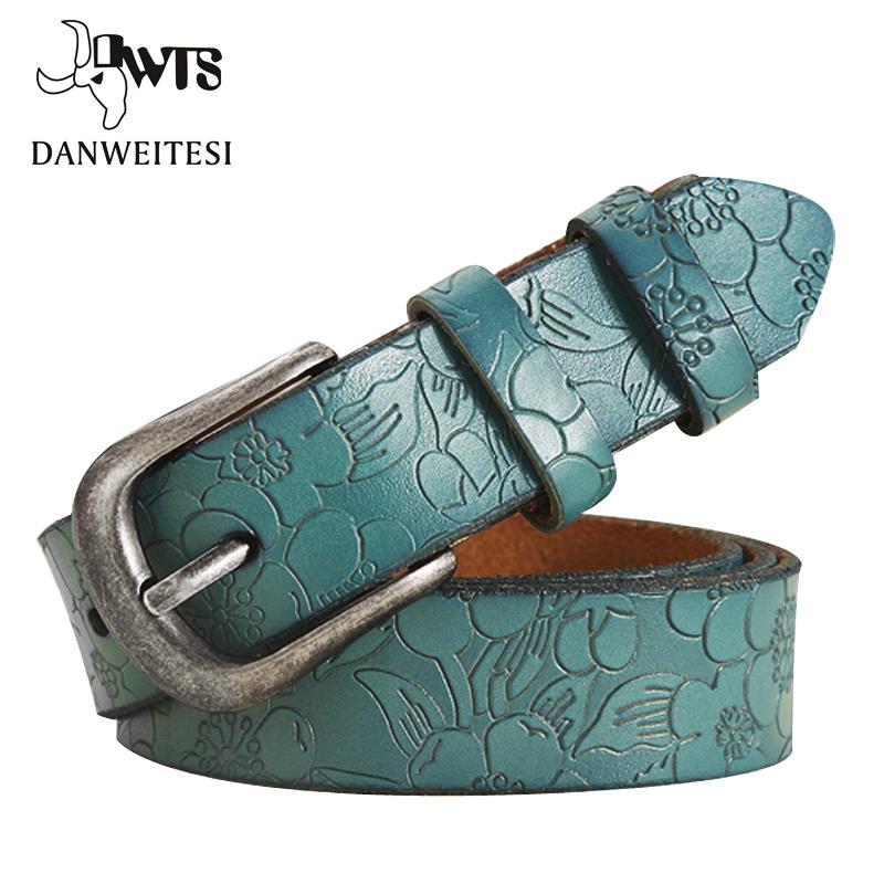 9940d1e7e14 Compre DWTS Cinturones Mujer Cinturón De Cuero Genuino Fino Para Mujer  Floral Tallado Cinturones Para Mujeres Ceinture Femme Cinturón Femenino  C18110601 A ...