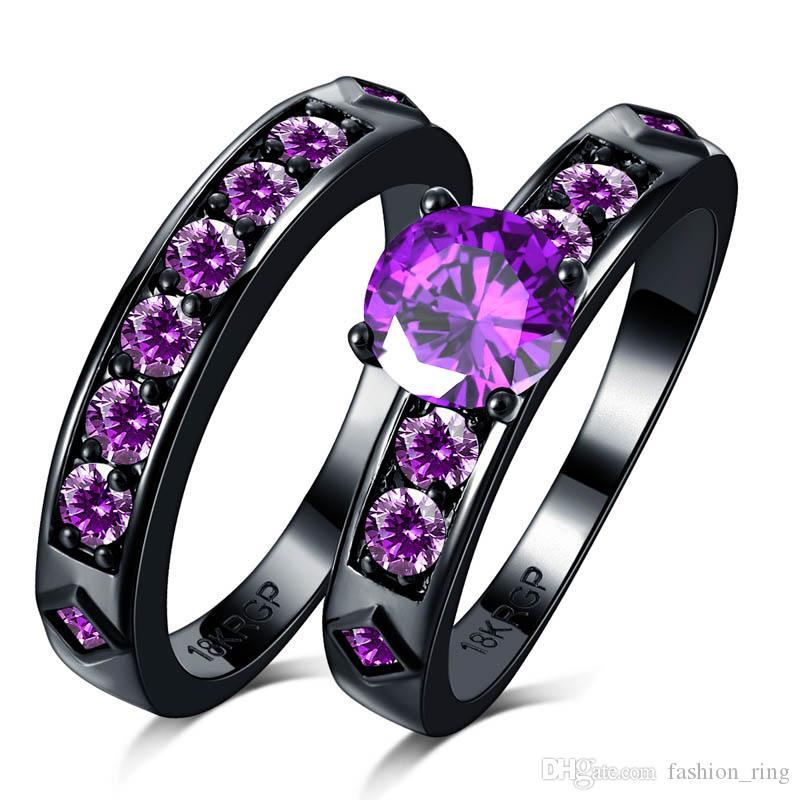Noble purple color rhinestone round CZ Zircon couple Rings Set black 18K Gold filled Wedding alliance For Women