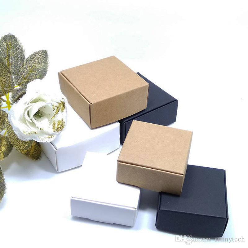 White Black Brown Kraft Craft Paper Jewelry Pack Boxes Small Gift Box For Biscuits Handmade Soap Wedding Party Candy Packaging Box Lx0580