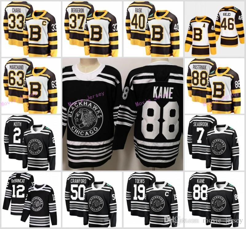 d0d0930c7 2019 2019 Winter Classic Chicago Blackhawks Boston Bruins Toews DeBrincat  Patrick Kane Seabrook Crawford Pastrnak Bergeron Marchand Hockey Jersey  From ...