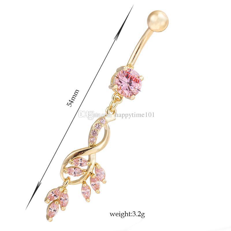 Nuova annata di modo di cristallo di fascino del fiore ciondola zircone tasto di pancia anello placcato oro foglie di ragazza regalo i monili delle donne