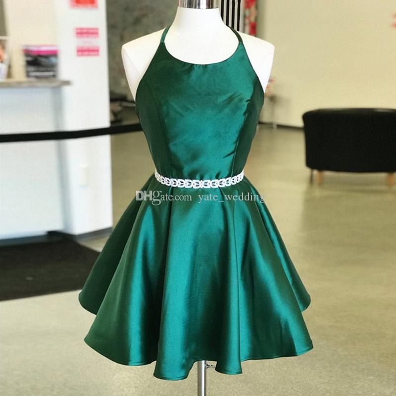 a8f0cc68a50 Dark Green Halter Short Homecoming Dresses 2019 Simple Satin Backless Prom  Dresses Sexy Backless Party Dresses Size 0 Homecoming Dresses Tea Length ...