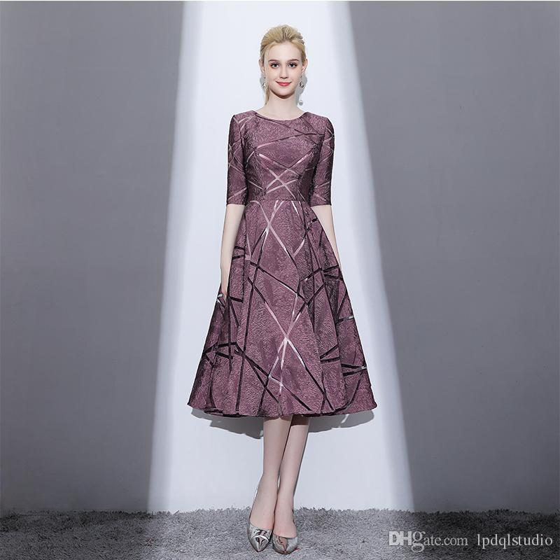 Compre Elegantes Vestidos De Madre De La Novia Mangas Medias ...