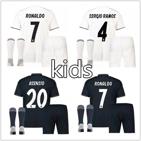 ef98d5c7b Kids Kit Real Madrid Soccer Jersey 2018 2019 RONALDO Jerseys Home ...
