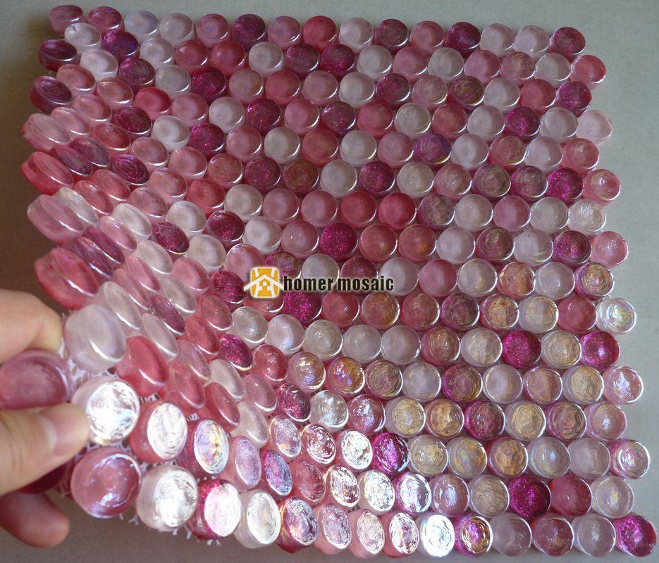 Grosshandel Symphonie Gemischt Rosa Runde Kristallglas Mosaikfliesen