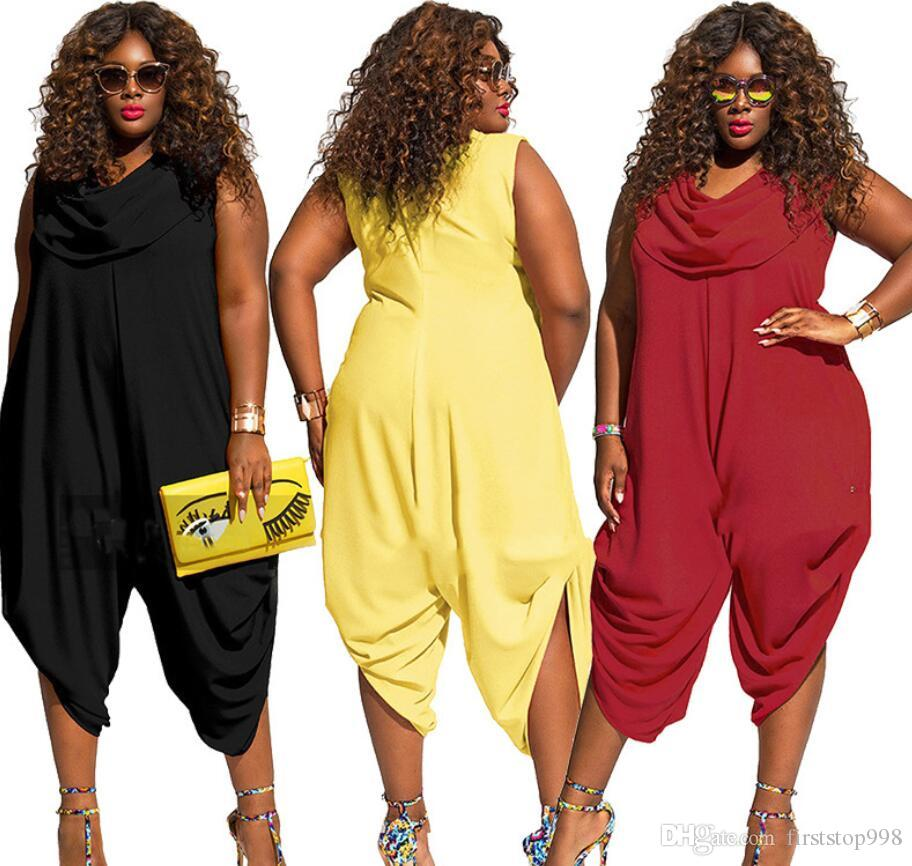Plus size women jumpsuit romper 2018 sleeveless sexy summer loose pant wide leg casual harem party playsuit outfit overalls hot