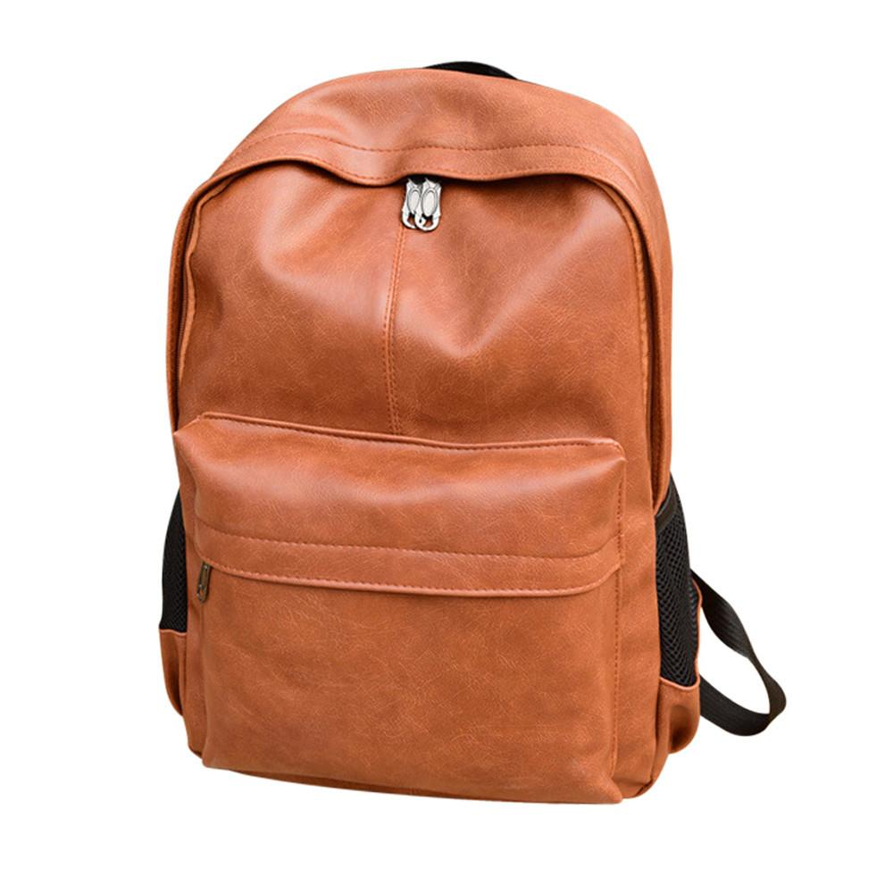 c22038075f07 Rtdbg Men S Women S Pu Zipper Arcuate Shoulder Strap Leather Backpack Laptop  Satchel Travel School Rucksack Bag Zaini Donna Jansport Big Student Backpack  ...