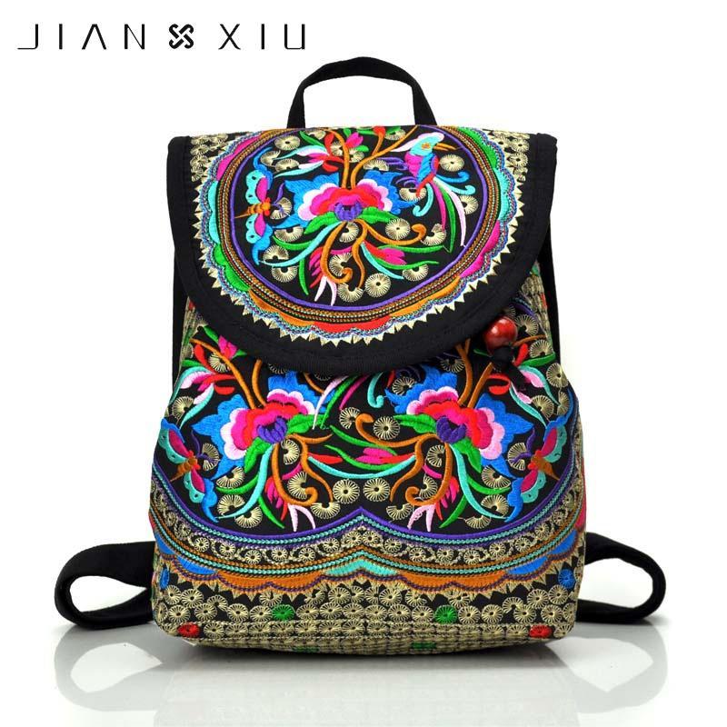 00ecc4395e Compre 2019 ModaJIANXIU Estilo Chinês Floral Bordado Mochila Saco Étnico Do  Vintage Meninas Senhora Único Mochilas Mulheres Mochila De Viagem Sacos De  Bag4