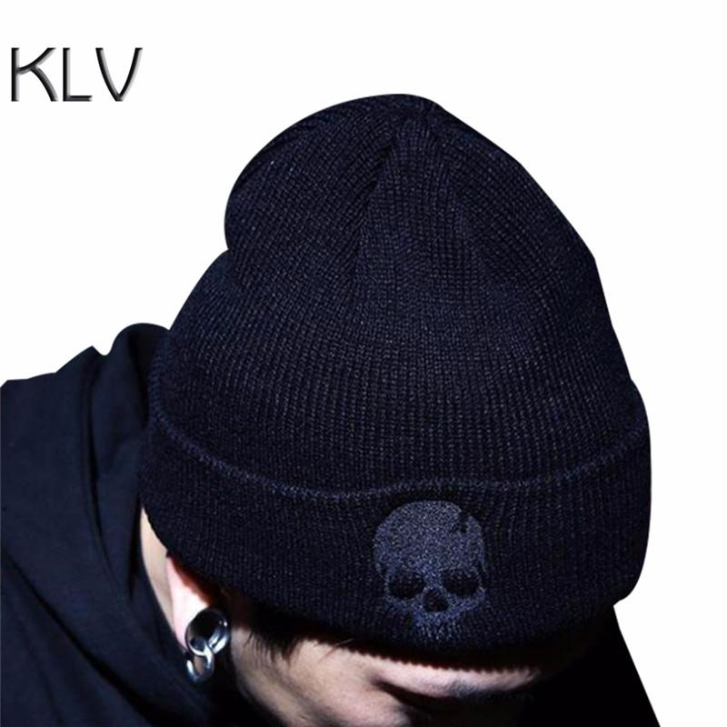 4706730b34c9c Hot Selling Unisex Acrylic Knitted Ski Hat Winter Skull Style Solid ...